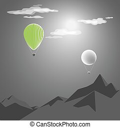 green hot-air balloon