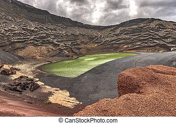 The Green Lagoon - Lago Verde, El Golfo, Lanzarote, Canary Islands, Spain