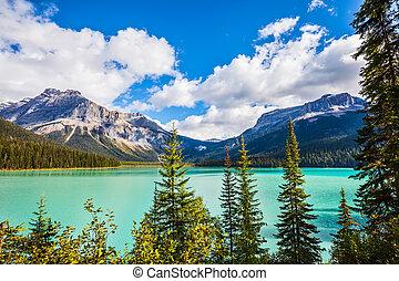 Magic Emerald Lake in Yoho National Park, Rocky Mountains