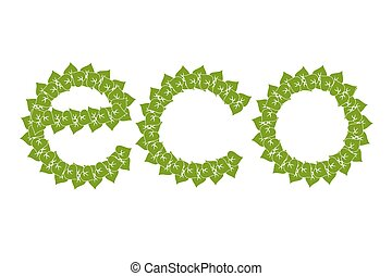 the green logo eco with simple green leaves