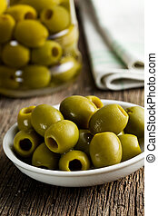 green olives on kitchen table