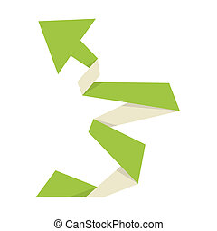 The green origami arrow