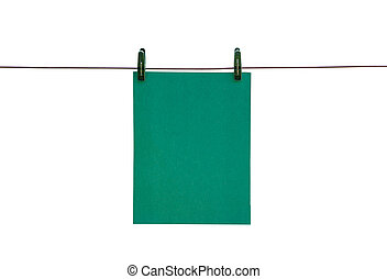 The green piece of paper hanging on rope with clothespins. Closeup. Isolated on white background