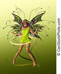 The Green Pixie - A cute fairy with wings, wreath and...