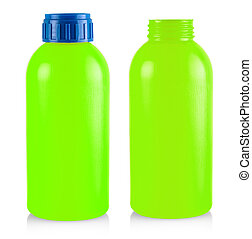 The green plastic bottle isolated on white background