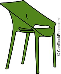 The green plastic chair