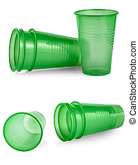 The Green plastic cup isolated on a white background
