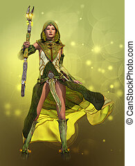 The Green Sorceress, 3d CG - 3D computer graphics of a young...