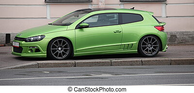 the green sports car a side view
