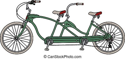 The green tandem bicycle