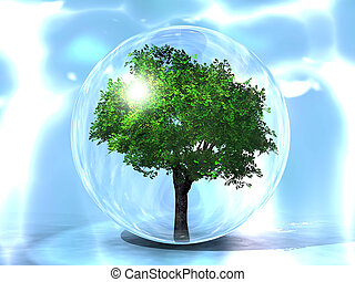 the green tree in a bubble