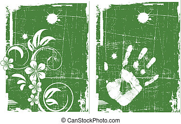 the green vector grunge background set