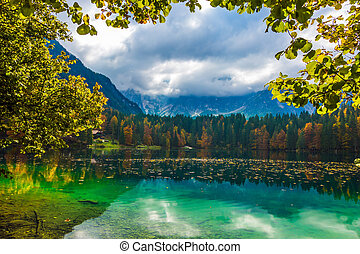 The green water of the quiet lake