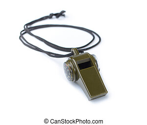 The green whistle on a white background