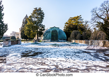 The greenhouse at Lednice castle, Czech republic. Winter and...
