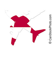 The Greenland flag painted on the silhouette of a aircraft. glossy illustration