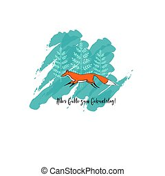 The Greeting Card with Cute Running Fox and Trees on...