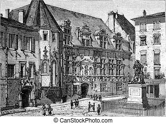 The Grenoble Courthouse, vintage engraving. - The Grenoble...