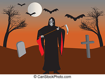 The Grim Reaper in a Graveyard with Bats and Withered Trees