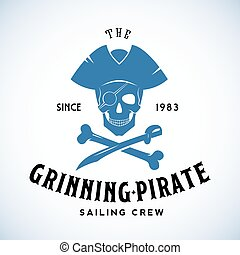 The Grinning Pirate Sailing Crew Abstract Vector Retro Logo...
