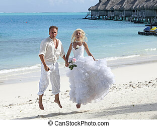 groom and the bride on the tropica