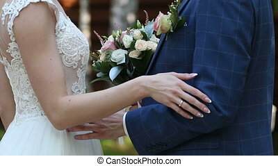 The groom places the ring on the bride's hand.