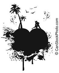 love heart island - the groungy style of black love heart...