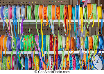 The group of colorful ribbons for decoration
