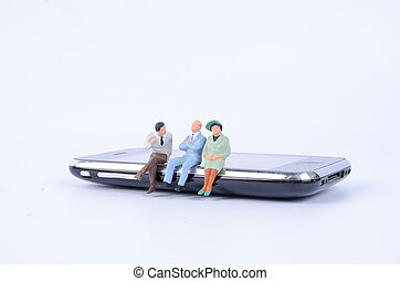 Group of people  sit on the phone