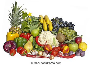 The group of vegetables and fruits