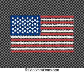 The grunge flag of the United States of America is colored. Noise. Vector art design, template, multi-colored us flag, icon. Isolated transparent background.