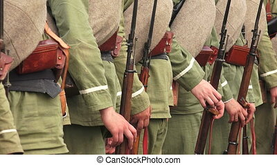 The guard of Russian soldiers. The first world war. WWI....