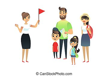 The guide tells the travelers about the sights. A group of tourists listens to a woman guide. Happy family with a map and things listening to a story about the city. Flat vector travel concept.