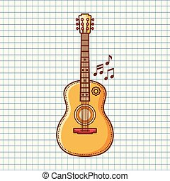 The guitar is a musical instrument. Vector image
