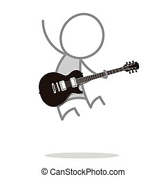 The guitarist - A man jumping and playing guitar.