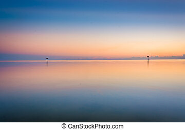 The Gulf of Mexico at sunset, seen from Smathers Beach, Key West