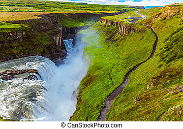 The Gullfoss on the Hvitau River - Huge masses of water...