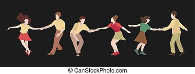 The guy and the girl are dancing swing. Set of three couple dancing swing, rock or lindy hop. Retro illustration in flat style hand drawn. Clip art people dancing isolated on a dark background