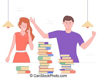 The guy and the girl in the library or classroom.