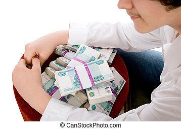 The guy blocked hands of million rubles. Money in packs