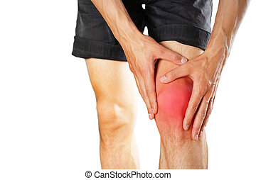 The guy clings to a bad knee. The pain in his leg. Closeup. The lesion is highlighted in red. Isolated on white background