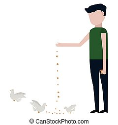 The guy feeds the pigeons vector illustration on white ...