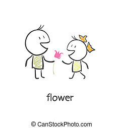 The guy gives a girl a flower