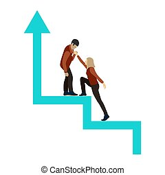 The guy helps the girl climb up the career ladder