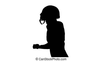 The guy in the helmet on a running game. White backgraund....