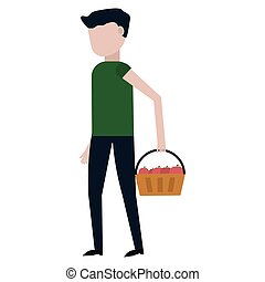 The guy is carrying a basket of apples