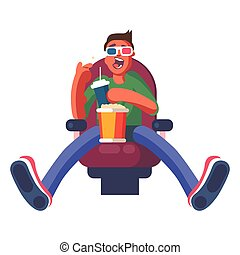 The guy is sitting in the cinema on a white background. ...