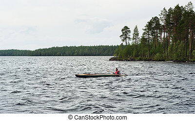 The guy on a canoe