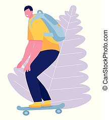 the guy on the skateboard isolated on white background. Vector illustration in a flat cartoon style