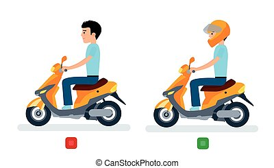 The guy rides a moped with a helmet and without a helmet, and safety regulations.
